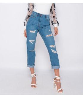 Multi Rip Turn Up Hem Boyfriend Jeans