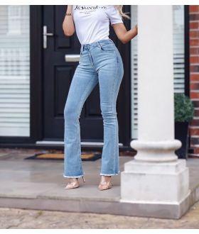Frayed Hem Flared Denim Skinny Jeans