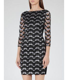 Reiss Mirte Bodycon Dress, Black/Silver CA_REISS_0001
